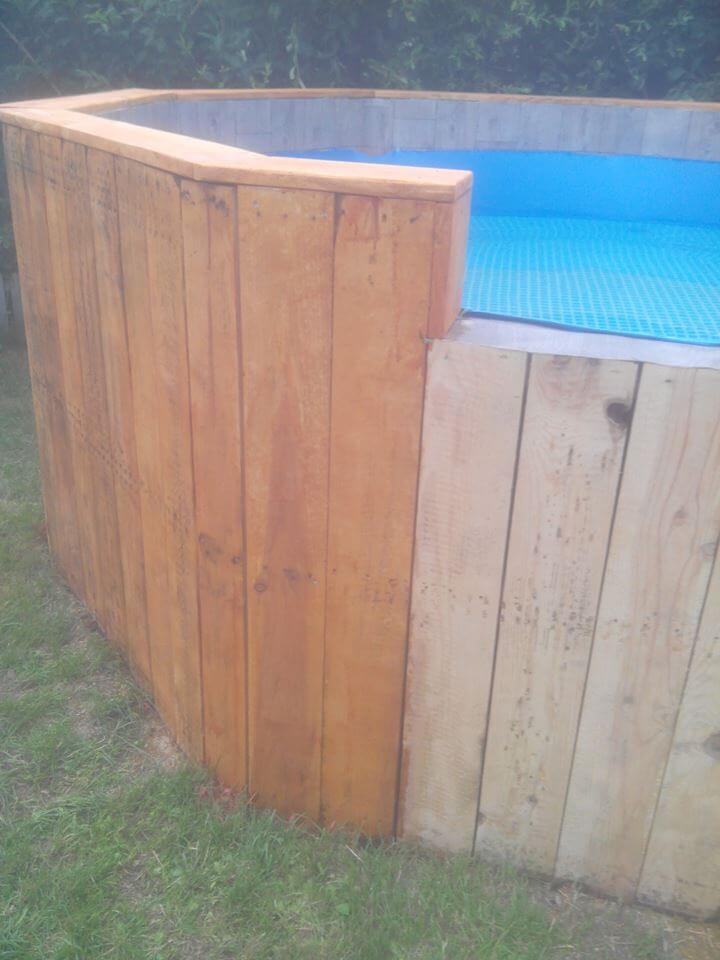 custom wooden pallet round outdoor pool