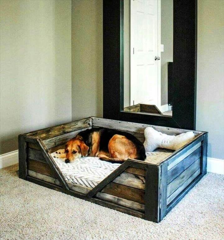 handmade pallet dog bed with chevron entrance