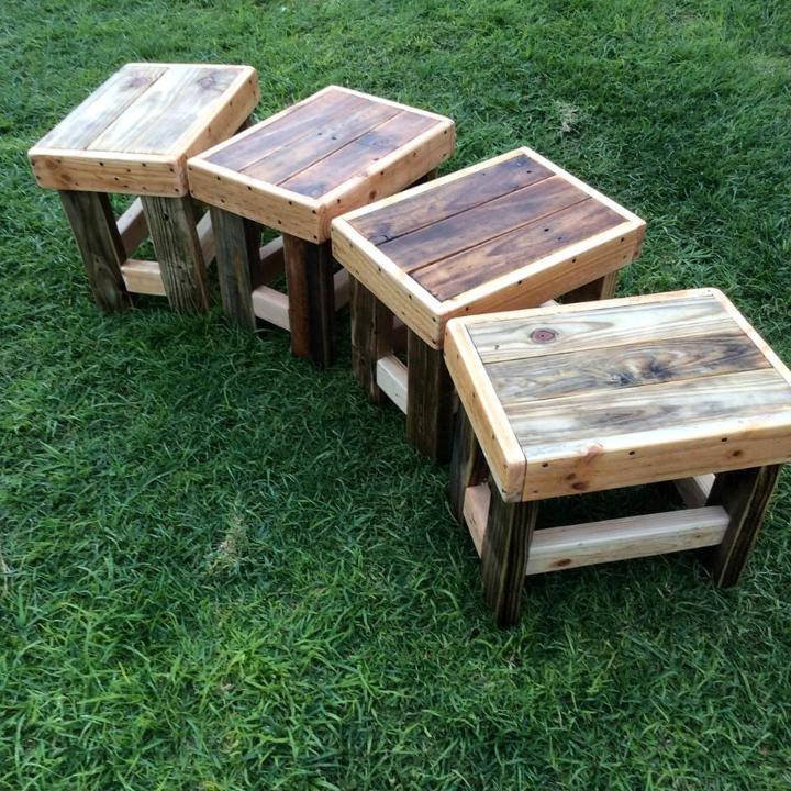 wooden pallet set of 4 stools