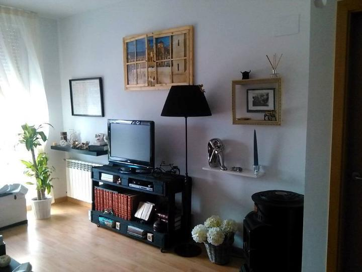 black painted pallet storage-friendly TV console