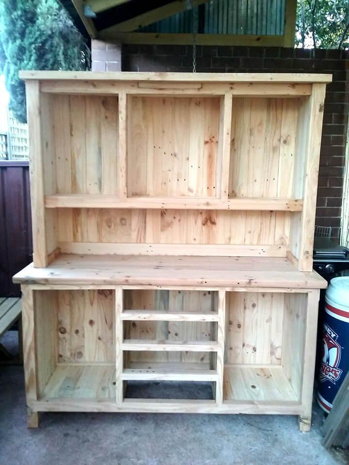 handcrafted wooden pallet kitchen hutch