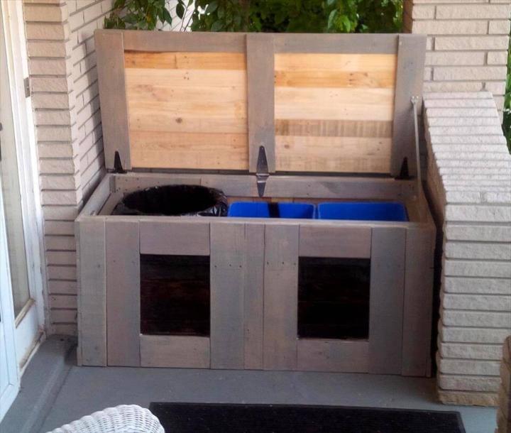 rustic wooden pallet trash bin can holder