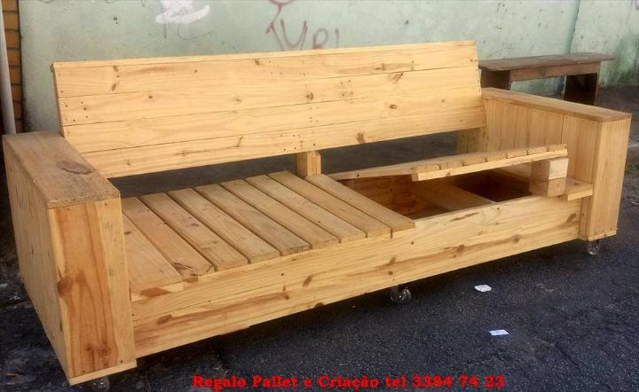 robust wooden pallet bench with storage
