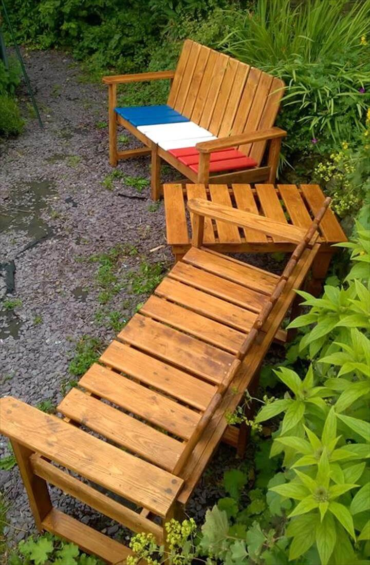 diy pallet garden sitting set