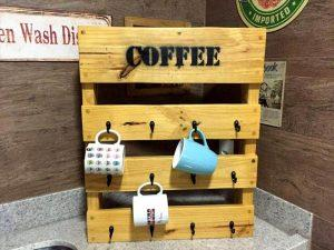 Wooden Pallet Coffee Mug Rack