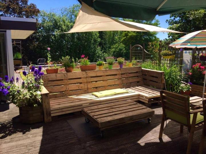 sturdy wooden pallet party lounge