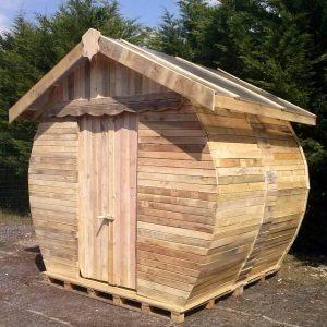 fancy round wooden pallet toilet cabin