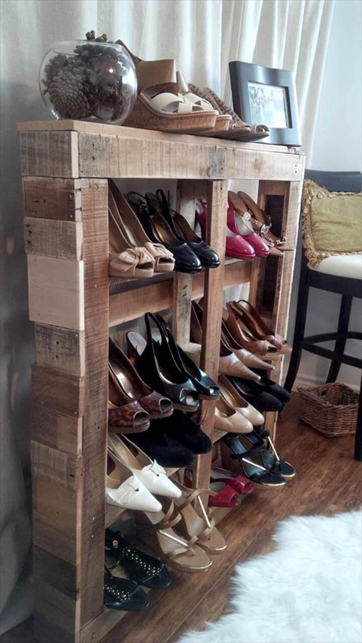 handcrafted wooden pallet shoes rack