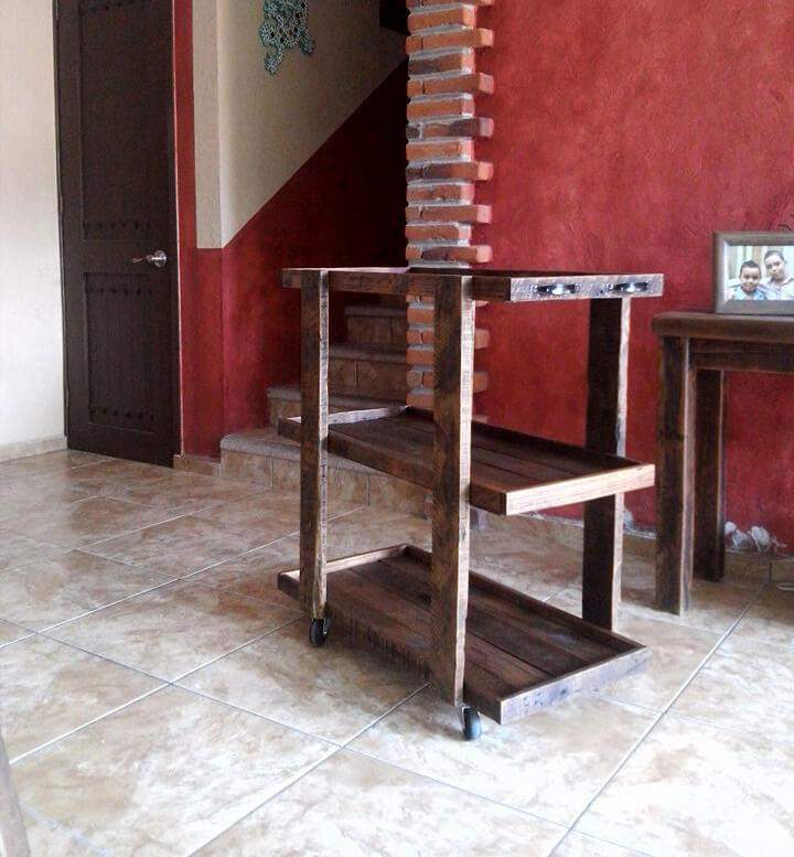 wooden trolley on wheels made of pallets