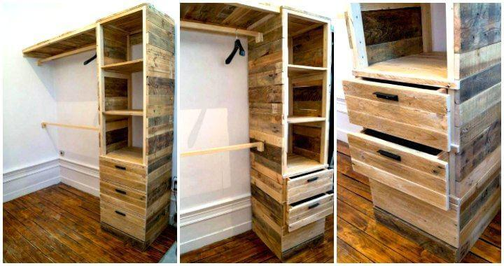 DIY Pallet Corner Closet or Cupboard - Easy Pallet Ideas