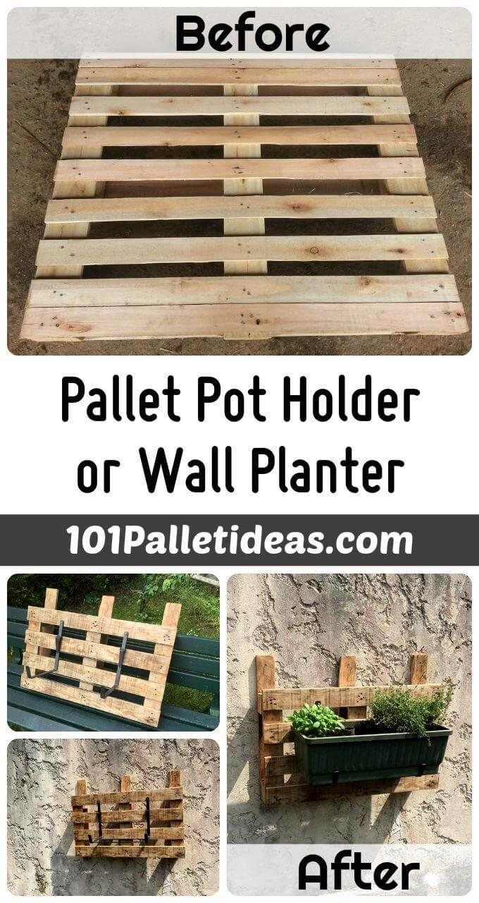 DIY Wood Pallet Pot Holder or Wall Planter