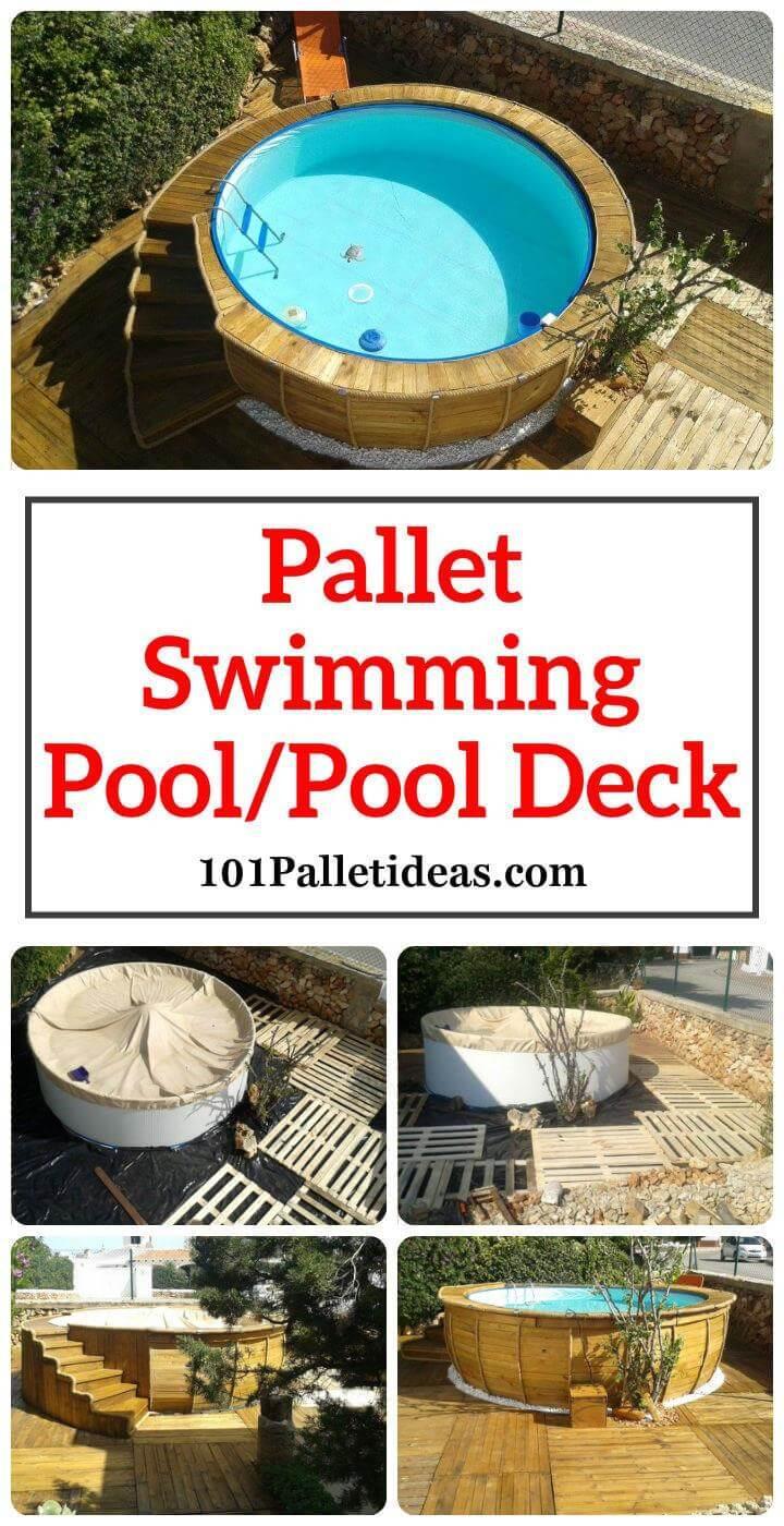 Pallet Swimming Pool Pool Deck Easy Pallet Ideas