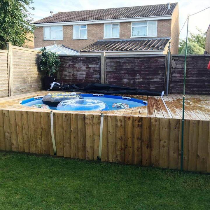 diy pallet made outdoor swimming pool