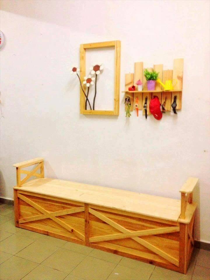 recycled pallet mudroom bench shelf and art frame