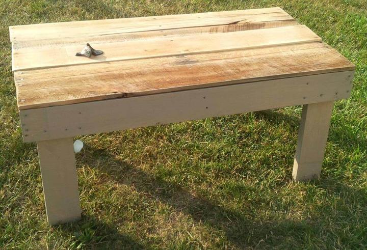 recycled pallet outdoor coffee table with secret beer cooler