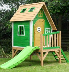 recycled pallet playhouse with slide