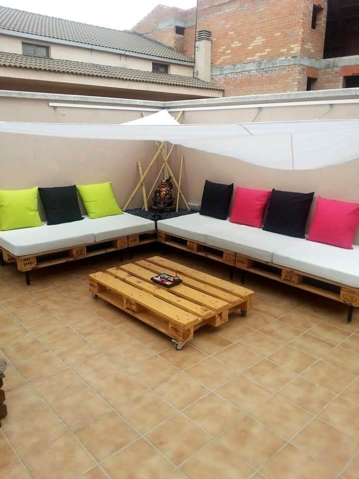 cushioned pallet terrace sofa set