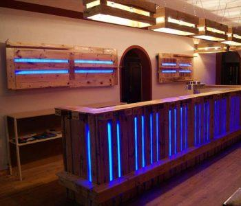 amazing bar done with pallets and custom lights