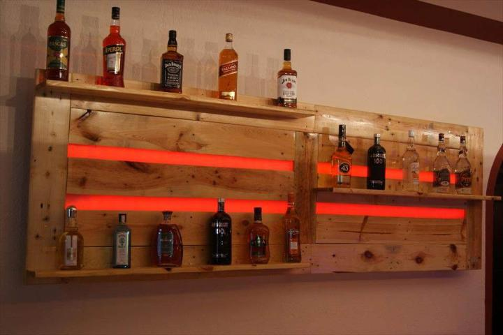 wooden pallet bar shelf or beverage bottle rack