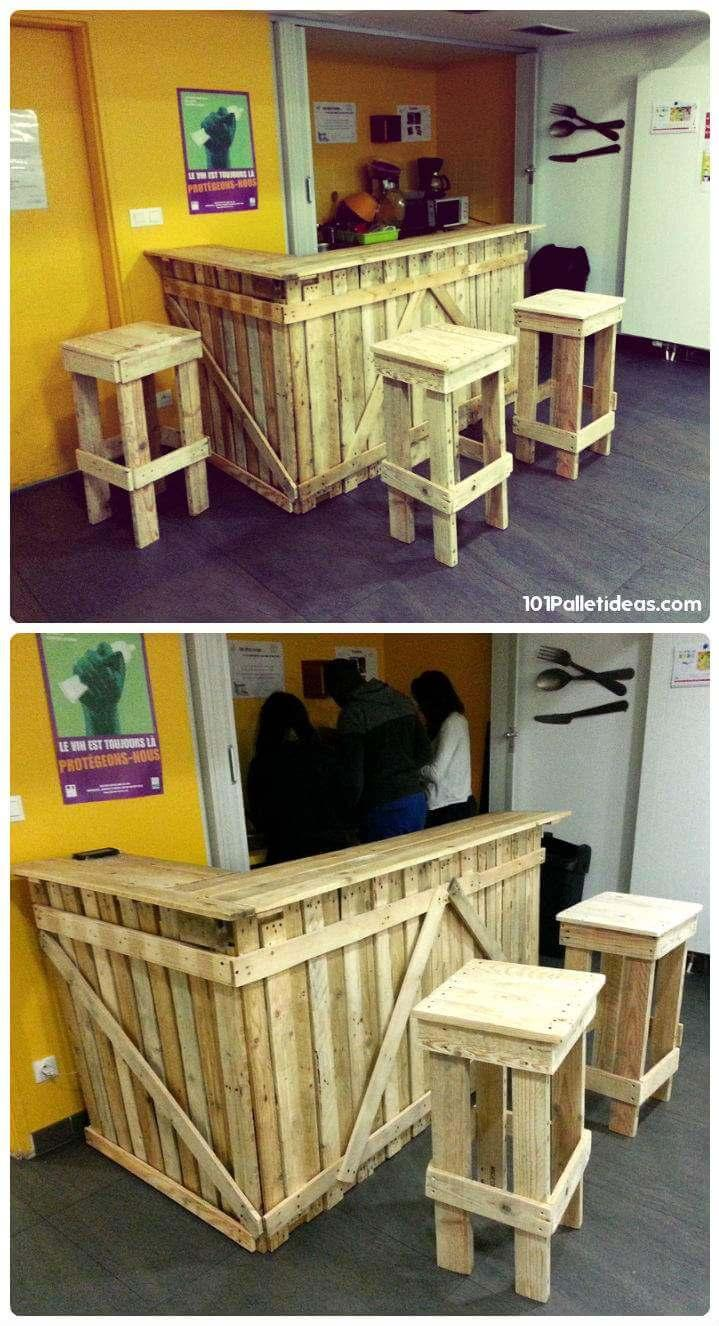 wooden pallet bar and stools set