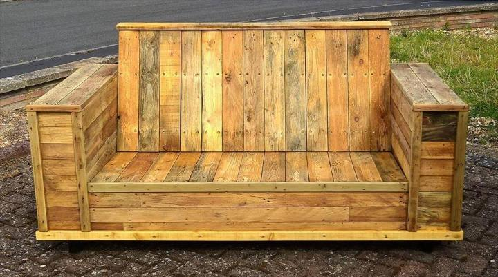 recycled pallet block style sofa