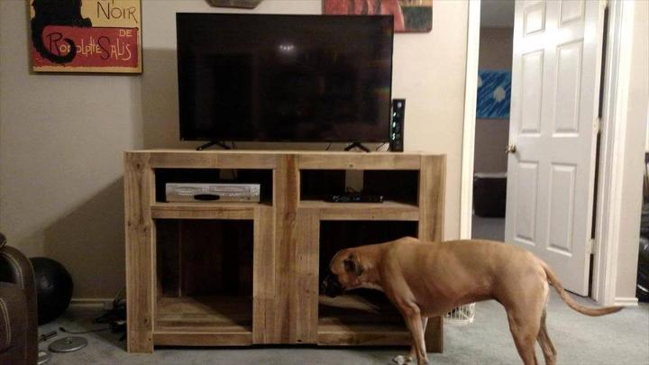 recycled pallet TV stand with storage