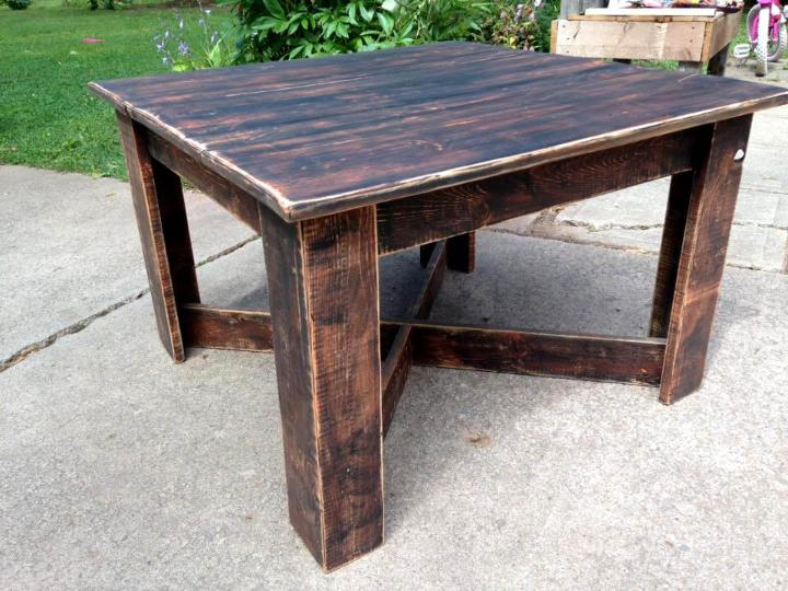 recycled pallet square top coffee table