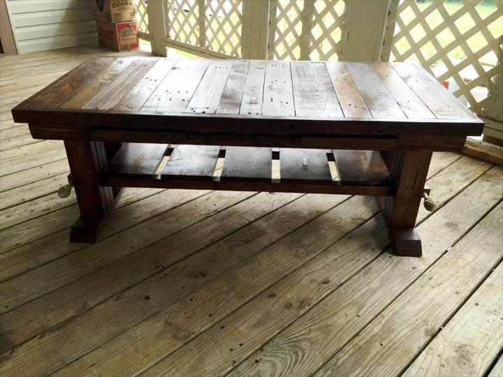 recycled pallet coffee table with lower shelf