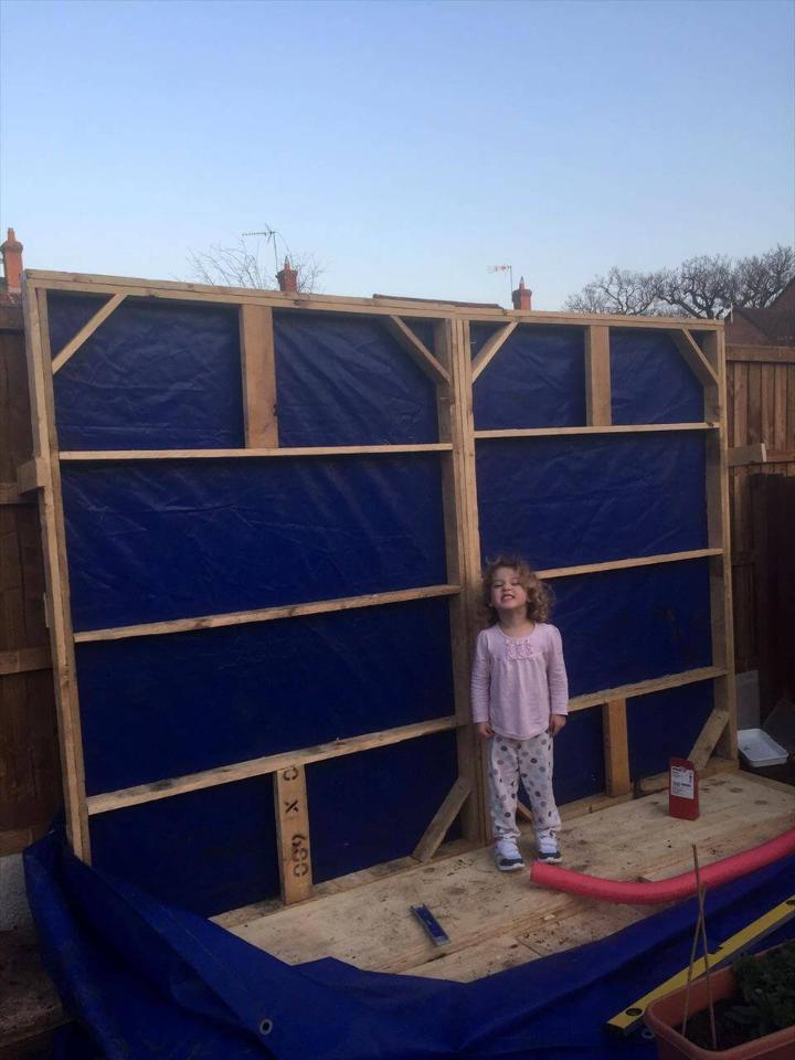 covering the wall frame with felt