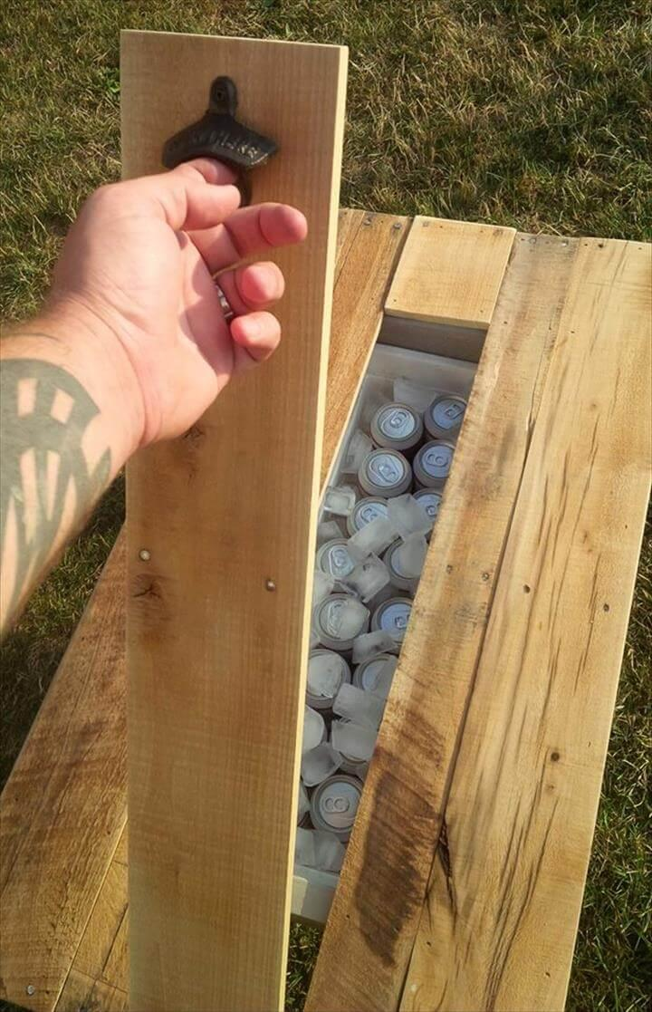 self-made pallet secret beer cooler outdoor coffee table
