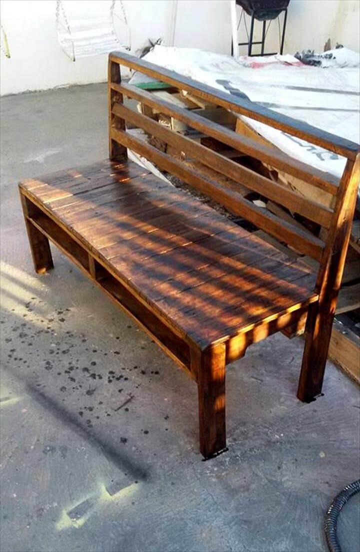 dark stained pallet rustic bench