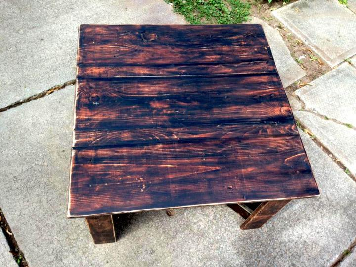 reclaimed wooden pallet square top coffee table