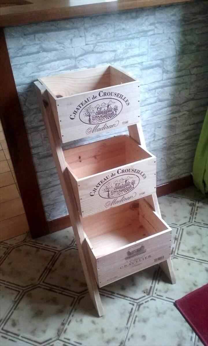 wooden pallet 3 tiered vegetable basket