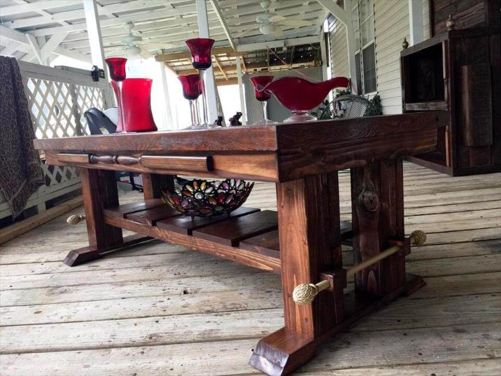 no-cost pallet coffee table with lower shelf