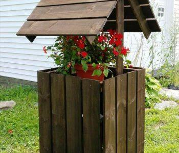 recycled pallet garden wishing well