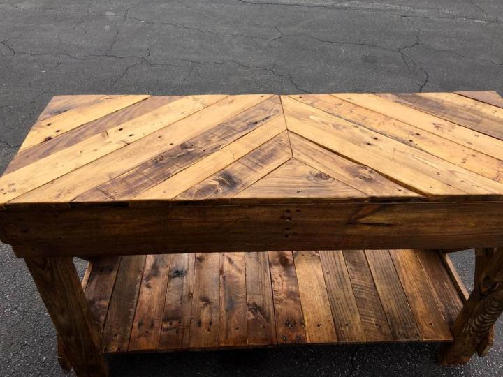 wooden pallet chevron sofa table with shelf underneath