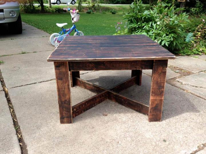 dark stained pallet square coffee table
