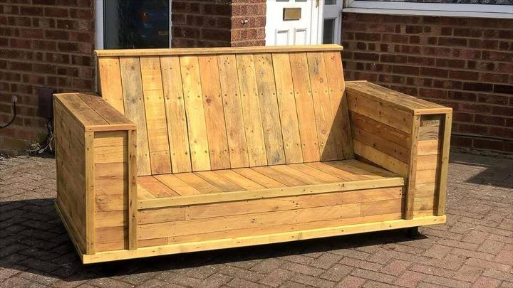 reclaimed wooden pallet sturdy block style sofa