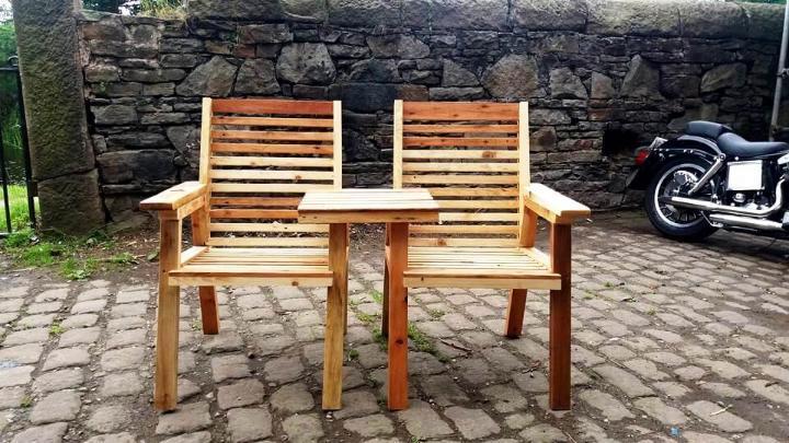 custom built wooden pallet double chair bench