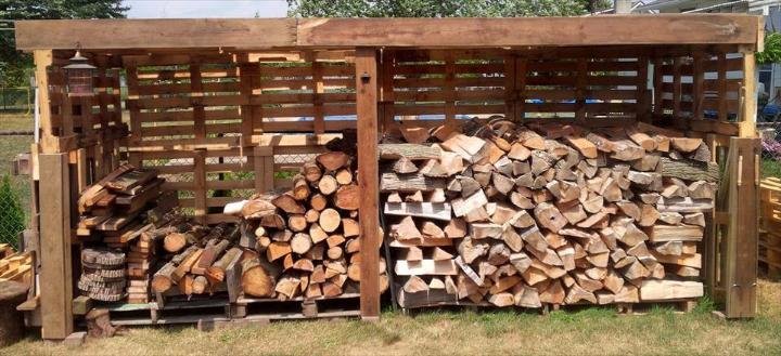 wooden pallet firewood shed