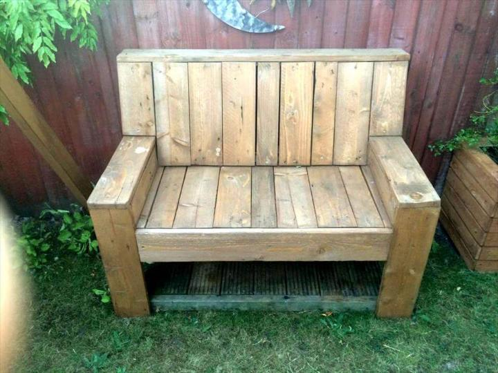 long lasting wooden pallet garden bench