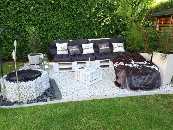 wooden pallet L-sofa set