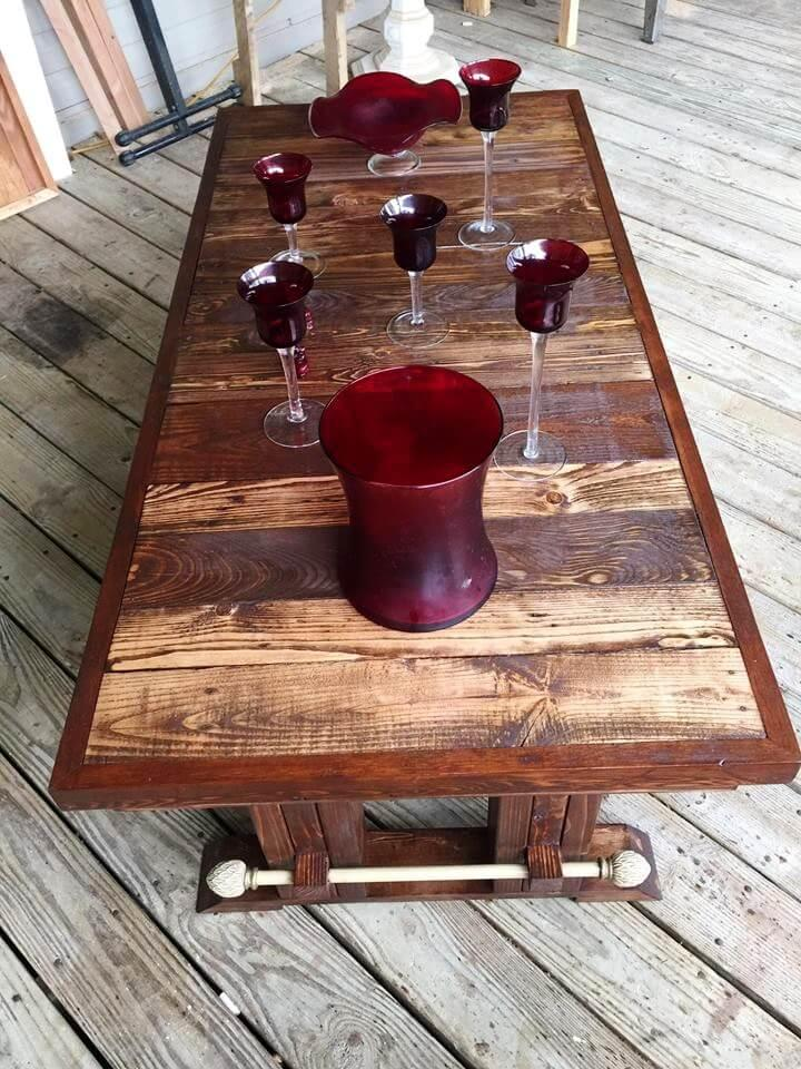 large pallet antique coffee table with lower shelf