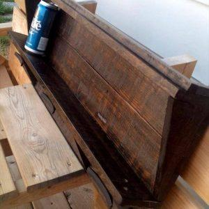 dark stained pallet shelf