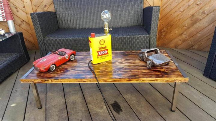 no-cost pallet wood and old metal coffee table