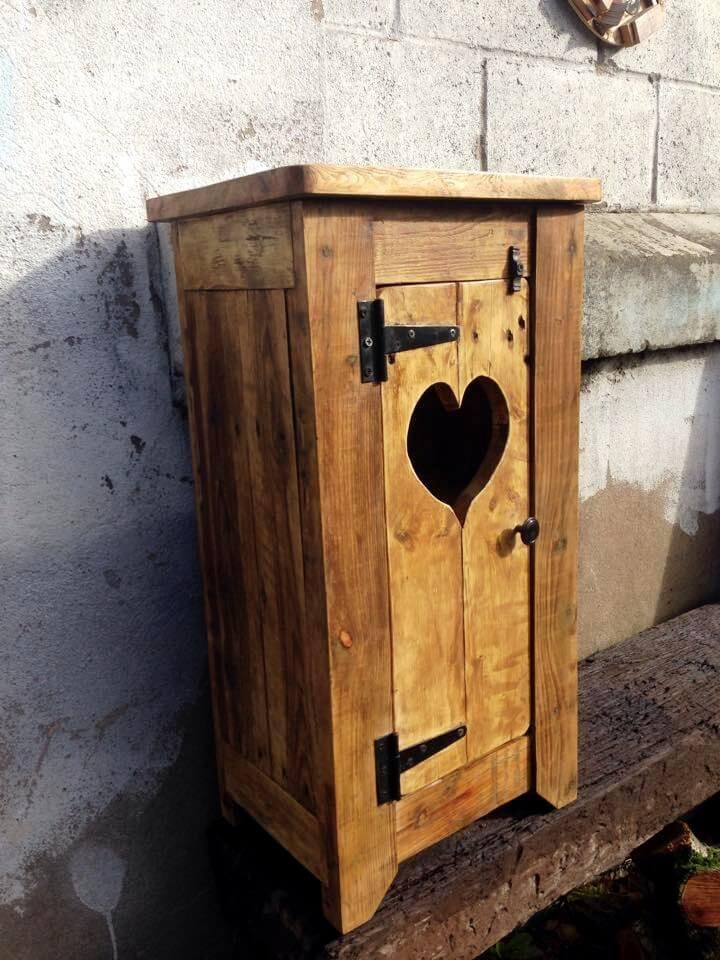 repurposed wooden pallet bathroom cupboard with hinged door