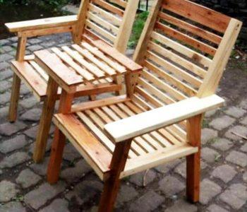 homemade wooden pallet double chair bench