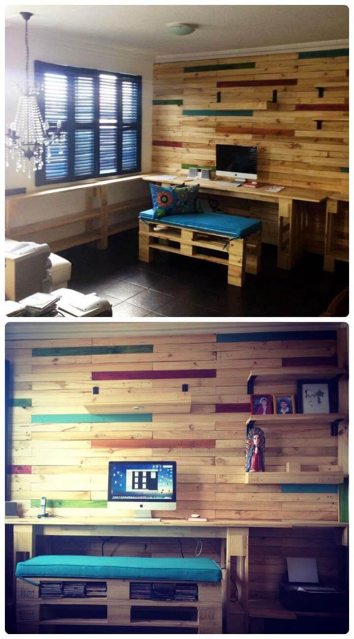 diy home office or study room done with pallets