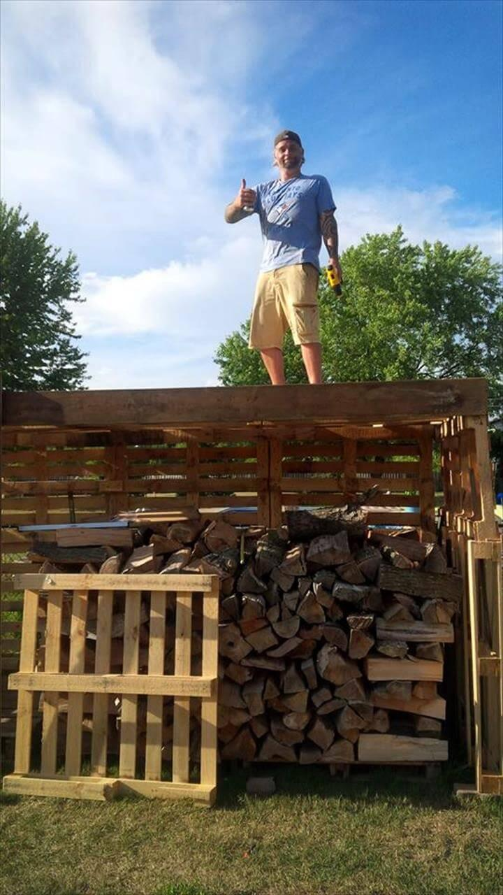 handcrafted wooden pallet firewood shed