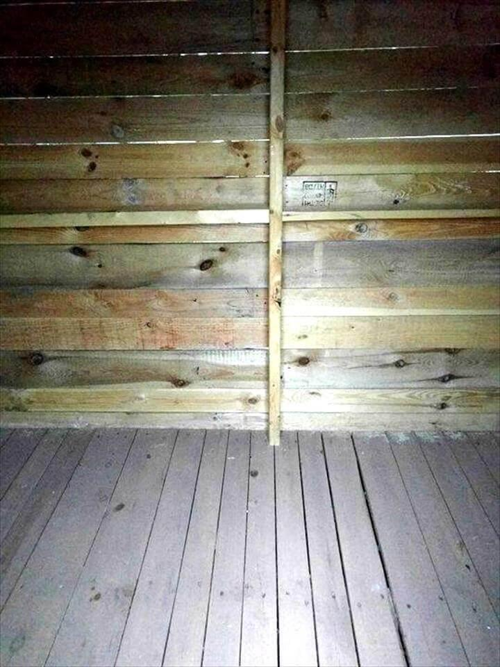 handcrafted wooden pallet clubhouse or playhouse with robust interior